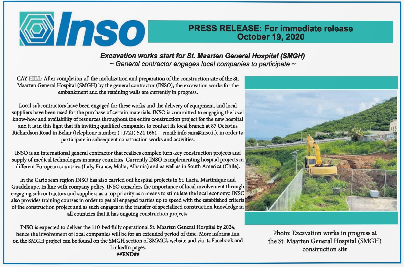 Press Release by INSO - Excavation works start for St. Maarten General Hospital (SMGH)